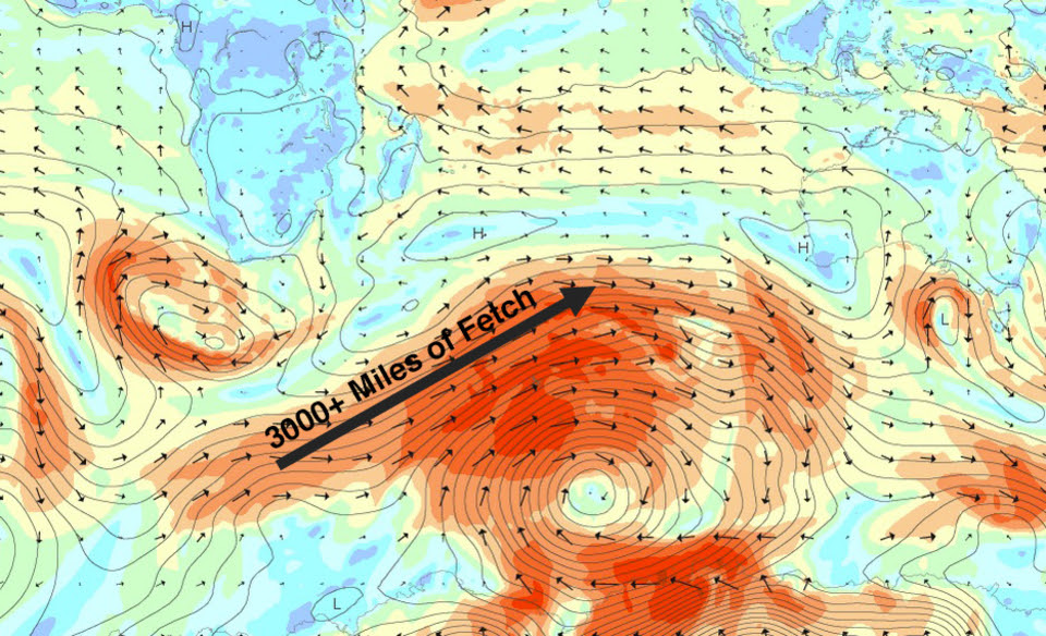 Wind chart showing the extended fetch aimed at Indonesia