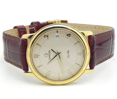 mens omega de vile  yellow gold quartz  includes