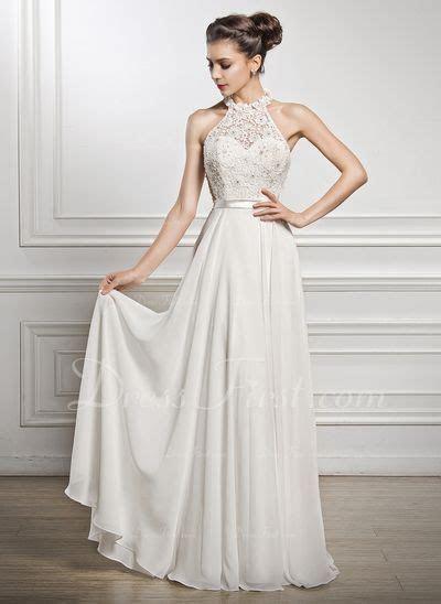 A Line/Princess Scoop Neck Floor Length Chiffon Wedding