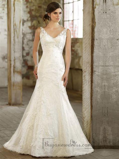 Lace Over Straps V neck Trumpet Wedding Dress #2197923
