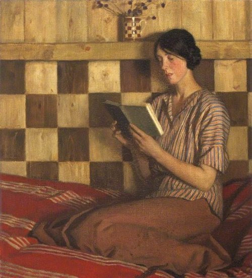 Reading poetry / Leyendo poesia (ilustración de Harold Knight)