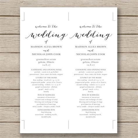 Wedding Program Template ? 41  Free Word, PDF, PSD