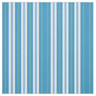 Blue, Green Morning Glory Deckchair Stripes Fabric