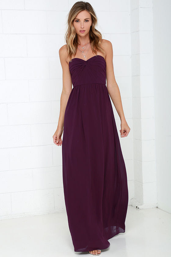 pretty plum purple dress  strapless dress  maxi dress