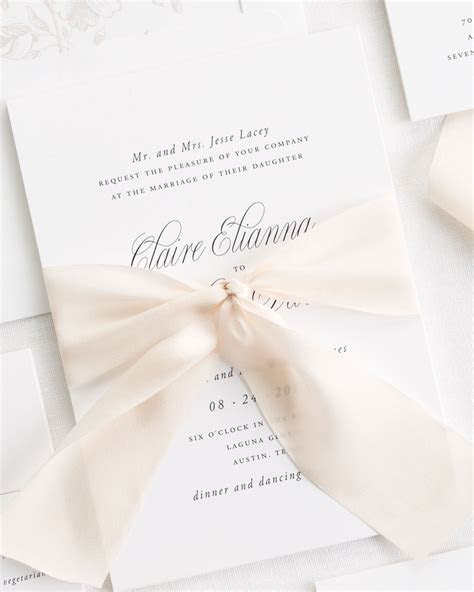 Garden Elegance Ribbon Wedding Invitations   Ribbon