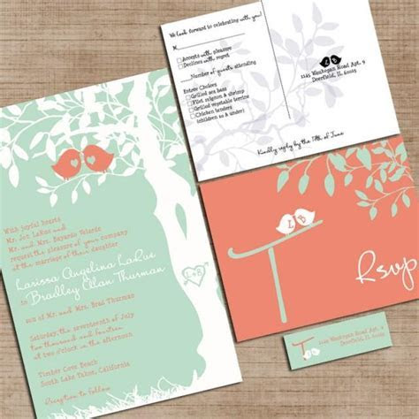 Mint Green And Coral Wedding Invitations, Custom Love