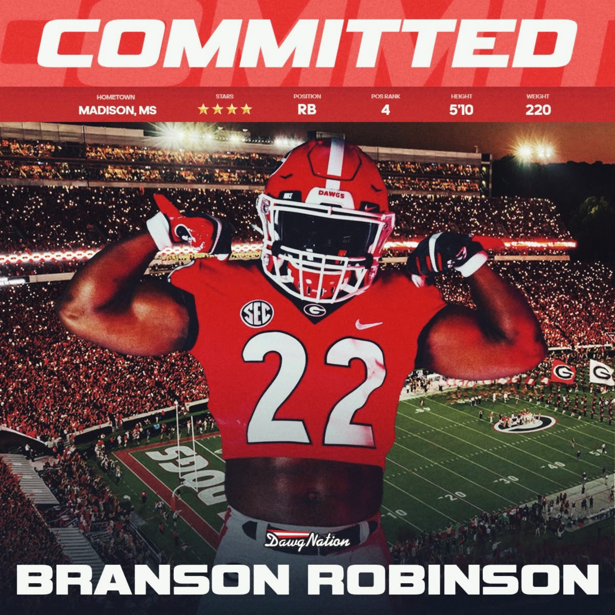 BREAKING: Elite RB prospect Branson Robinson has made his college decision