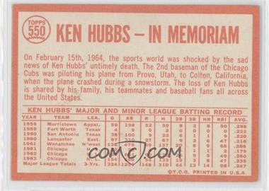 1964 Topps #550 - Ken Hubbs/In Memoriam - Courtesy of COMC.com