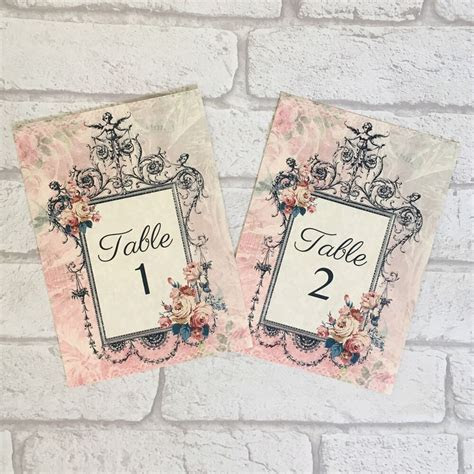 Vintage Style Wedding Table Numbers Names Cards   Shabby