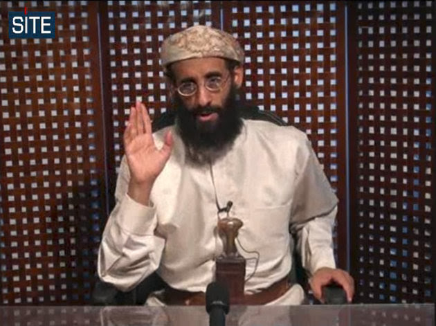 FILE - In this file image taken from video and released by SITE Intelligence Group on Monday, Nov. 8, 2010, Anwar al-Awlaki speaks in a video message posted on radical websites. Yemen's Defense Ministry said in a statement Friday Sept. 30, 2011 the U.S.-born al-Qaida cleric Anwar al-Awlaki has been killed. The ministry provided no details in the statement Friday on one of its websites. (AP Photo/SITE Intelligence Group) NO SALES