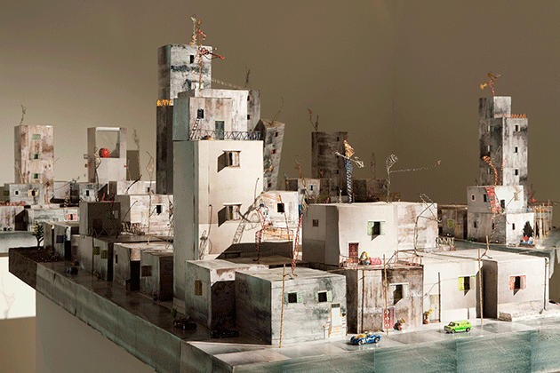 """Qalandia 2087, 2009,"" a mixed-media installation in six parts by Wafa Hourani, photographed by Wilfried Petzi."
