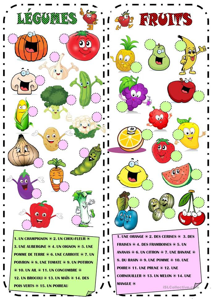 Fruits & Légumes | Gratuit FLE  worksheets