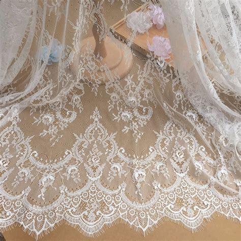Beautiful Black/Off white Eyelash Lace Fabric ,Wedding