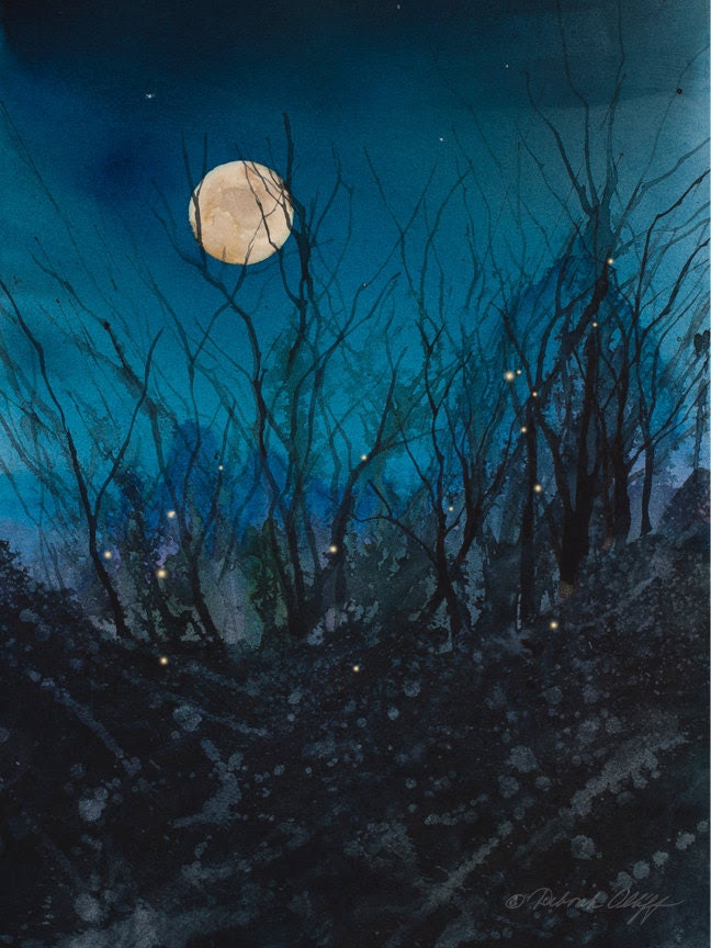 Firefly Moon // Full Moon // Watercolor // Night Sky // Fireflies // Stars // Art Print // Magical