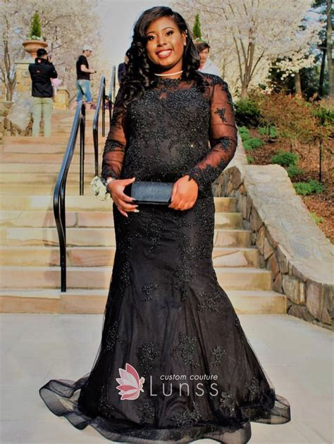 Beaded Embroidered Black Tulle Long Sleeve Plus Size