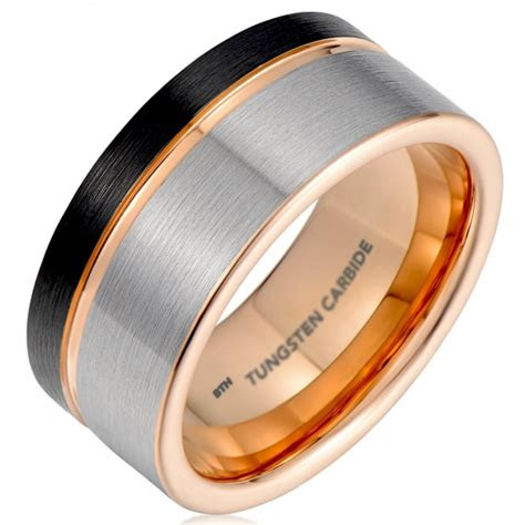 mens blackgunmetal grey tungsten carbide wedding ring