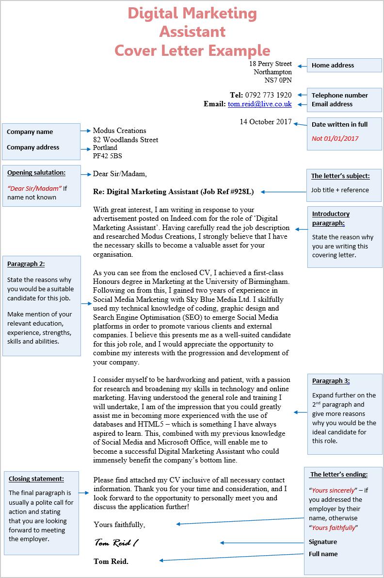 Digital Marketing Assistant Cover Letter 1