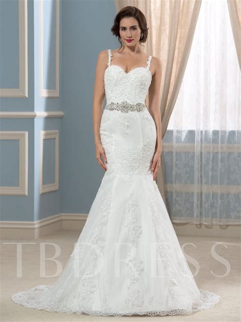 Spaghetti Straps Beaded Lace Court Mermaid Wedding Dress