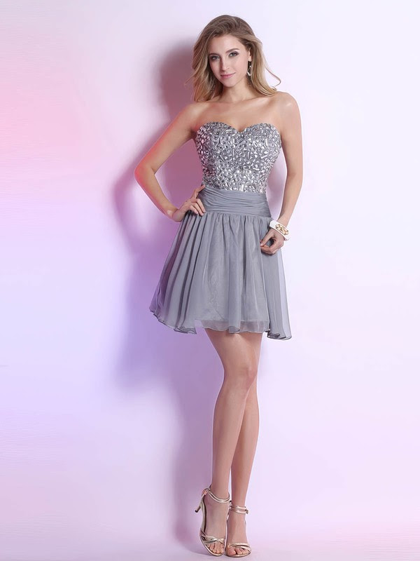 Fabulous Sliver Short/Mini Chiffon Crystal Detailing Backless Sweetheart Prom Dress #02051646