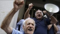Protesters against Greek austerity measures