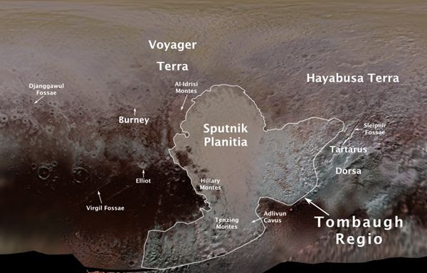 An infographic of Pluto with names denoting various geological features on its surface.
