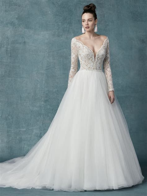 Long Sleeve Lace Tulle Ball Gown Wedding Dress   Kleinfeld