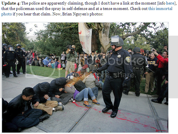 Some cop pepper-spraying UC Davis students who are just sitting on the ground