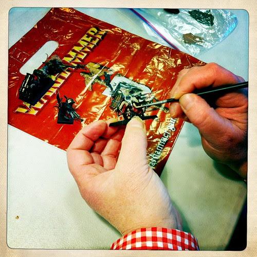 painting Warhammer guys at mom's craft day