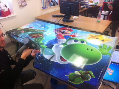 Super Mario Bros vinyl graphics desk