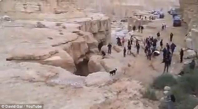 It is thought the return of the flood waters (pictured) was because of heavy rain in mountainous regions several miles away from the arid land