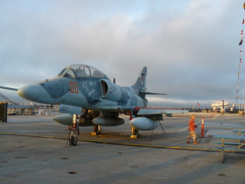 The Hornet's flight deck stretches out like a long, flat plateau