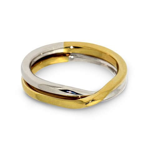 LOVE KNOT Two Tone Wedding Band in 14K Gold