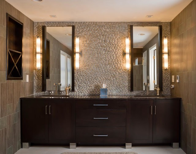 Walnut Contemporary Bath - modern - bathroom vanities and sink ...