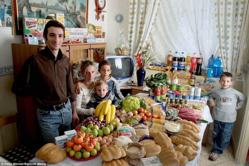 Ιταλία: Η οικογένεια Manzos δαπανήσει £ 167 την εβδομάδα για τα τρόφιμα, συμπεριλαμβανομένων των ψαριών, τα ζυμαρικά, τα φρούτα, τα λαχανικά και τα αναψυκτικά