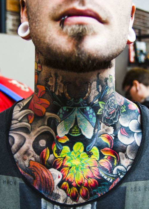 Neck And Chest Tattoos Old School Ink Tattoo Love