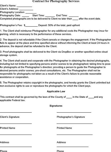Event Photography Contract Template   Photography