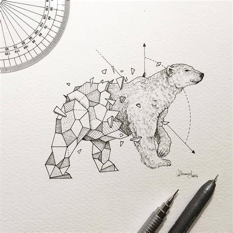 lovely  geometrical drawings  wild animals fubiz media