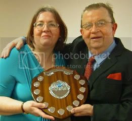 Carol presented with the Romance Trophy December 2011, Presentation of the Mary Street Memorial Shield for a Romance Novelist at Nottingham Writers' Club, December 2011