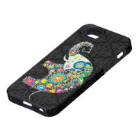 Colorful Retro Flower Elephant Design iPhone 5 Covers