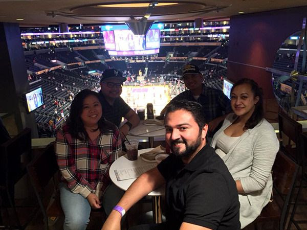 Taking a group pic with my friends Sarina, Carlo, Albert and Usha inside The Centurion Suite at STAPLES Center...on January 28, 2016.