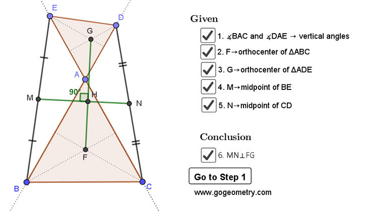 Geometry Problem 1459: Two Triangles, Orthocenter, Midpoint, Perpendicular, Step-by-step Illustration, iPad.