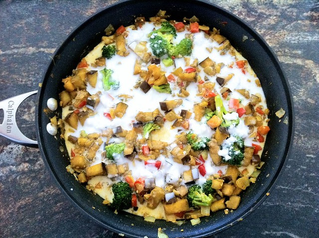 Coconut Milk Added to Sauteed Vegetables