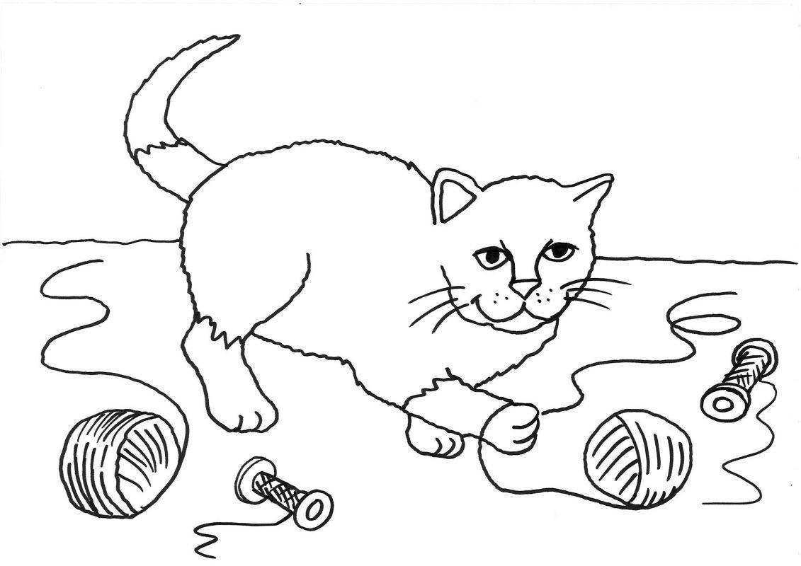 malvorlage katze mit wollknaeuel