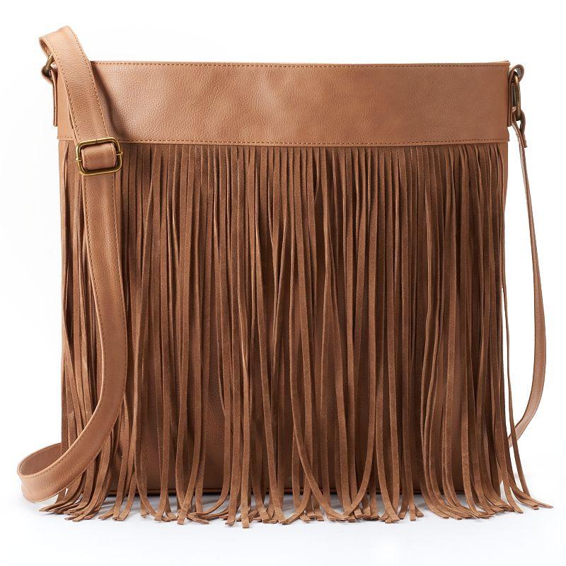 T-Shirt & Jeans Fringed Crossbody Bag, Women's, Brown