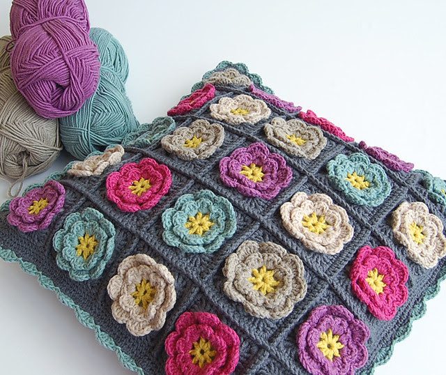 Flower granny square pillow
