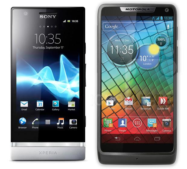 Sony Xperia P e Motorola Razr i (Foto: Divulgação)