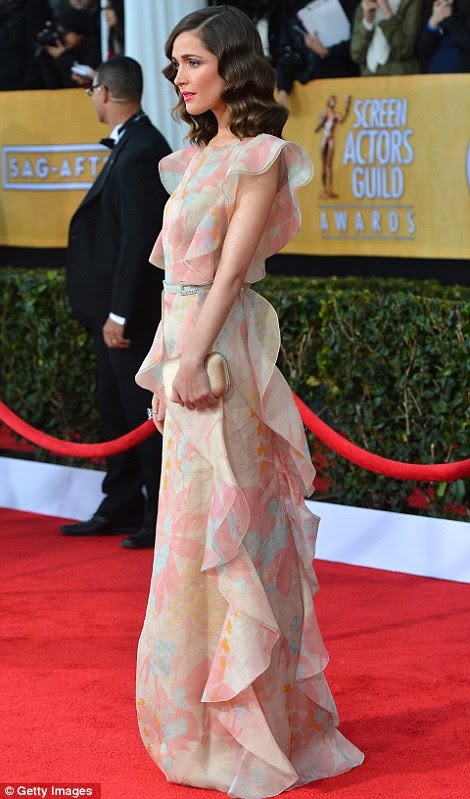 Flirty in floral: Rose Byrne was pretty as a petal in Valentino