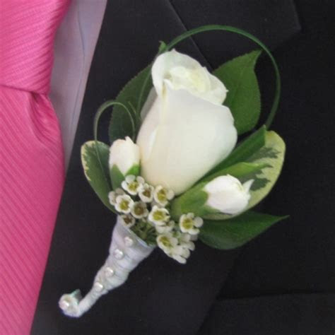 White Rose Boutonniere   Finishing Touch Flower Sealant