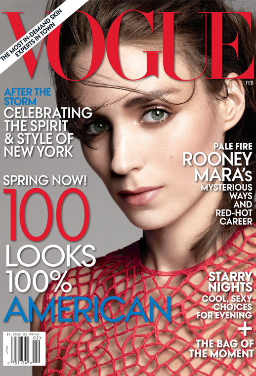 LE FASHION BLOG ROONEY MARA VOGUE COVER MAGAZINE FEBRUARY 2013 EYEBROWS NATURAL BEAUTY PALE NUDE NAILS WHITE MESH TEXTURED SWEATER CORAL MESH CUTOUT TOP CHEEK BONES BLUSH SIDE EFFECTS GIRL WITH THE DRAGON TATTOO
