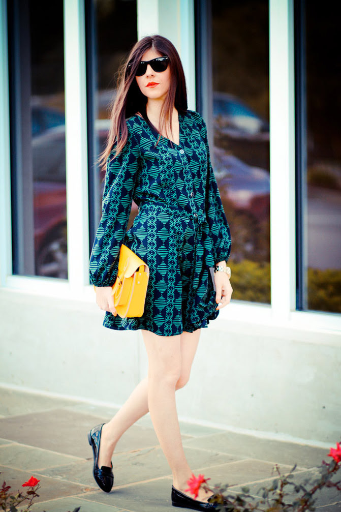 Kelly Green dress, Marc Jacobs henry watch, Penny loafers